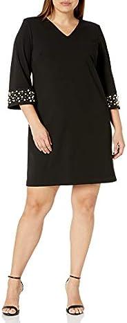 Calvin Klein 女士加大码纯色 V 领紧身衣带珍珠点缀袖,