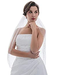1T 1 层水晶种子串珠婚礼头纱肘部长度 76.2 厘米