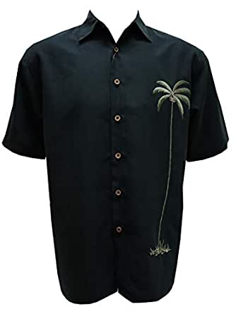 Bamboo Cay 男士单棕榈刺绣休闲夏威夷扣角领衬衫 黑色 X-Large