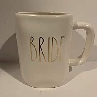 Rae Dunn BRIDE 马克杯 - 白色和金色字母 - 16 盎司 - 婚礼礼物