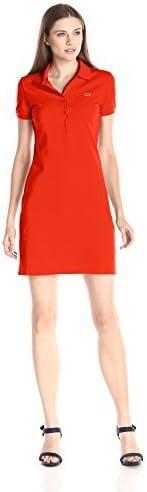 Lacoste 女式彈力棉短袖迷你 Piqué Polo 連衣裙