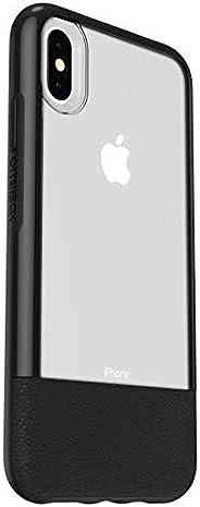 Otterbox Slim Case Bundle - 套装由防摔保护套+* Alpha 玻璃屏幕保护膜。 透明带皮革装饰用于 iPhone Xs MAX。 黑色