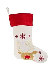 Fennco Styles 假日圣诞图案亚麻悬挂袜 驯鹿 1-包每包 1 条