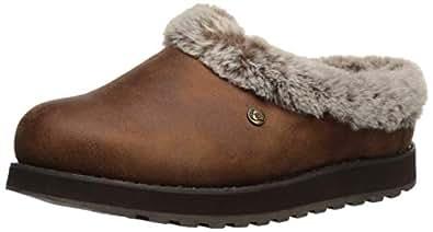 Skechers 斯凯奇 BOBS 女式 Keepsakes-R E M 宽人造毛皮衬里女靴,带*泡沫拖鞋 棕色 9 W US