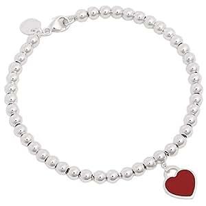Tiffany & Co 蒂芙尼 珐琅心型银质手链 红色