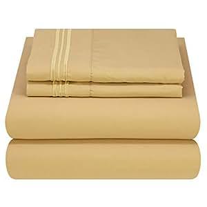 Mezzati 豪华床单套装 - 柔软舒适的 1800 Prestige 系列 - 拉绒超细纤维床上用品 金色 King 784672147927