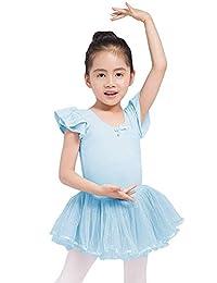 Dancina 女孩带裙紧身连衣裤芭蕾舞短裙全棉内衬