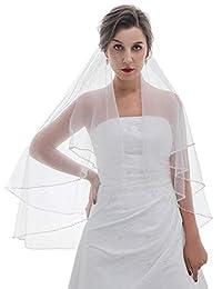 2T 2 层珍珠贝格串珠婚礼头纱肘部长度 76.2 厘米