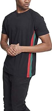 城市经典男士 T 恤插肩 Side 条纹茶