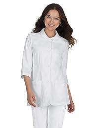 KOI 经典女式琥珀色&Frac34;袖套实验室大衣 S 码 白色