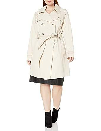 Via Spiga 女士加大码双排扣风衣带腰带 棉布 2X Plus