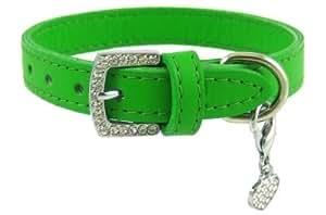 宝石搭扣皮革狗项圈来自毛茸茸 绿色 S