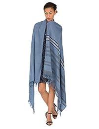 斜纹手工编织美利奴披肩和大码围巾 带条纹