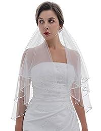 2T 2 层波浪珍珠水晶串珠新娘婚礼头纱 指尖长度 91.44cm