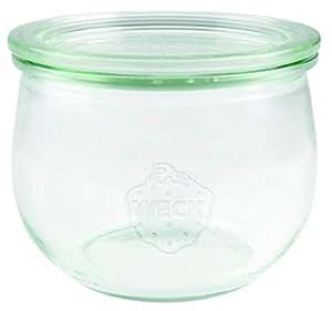 Weck 744 郁金香玻璃瓶 500 毫升 (高品质一次性,装玻璃盖;用于烹饪;耐热;微波炉适用;圆形边缘玻璃)6件透明