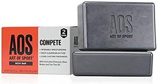 Art of Sport Body Bar 香皂,Compete Scent,含活性炭,茶树油和乳木果油,3.75 盎司 2 Bar