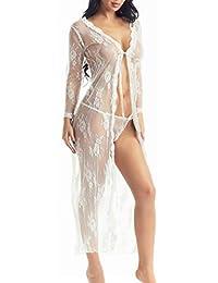 女士内衣长袍蕾丝连衣裙透明长裙透视和服连衣裙 白色 XX-Large