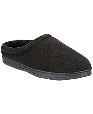 Club Room 男士*泡沫厚绒洞拖鞋,黑色,大号 9.5-10.5