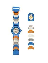 LEGO Watches and Clocks 星球大战 The Last Jedi BB-8 儿童人偶拼图手表|蓝色/橙色| 塑料 | 表盘直径25毫米|石英机芯|男孩女孩|官方