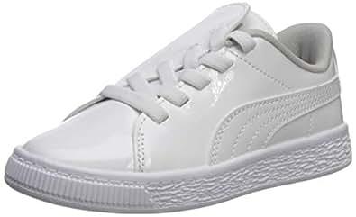 PUMA 彪马 儿童 Basket Crush 一脚蹬运动鞋 白色(Puma)- 白色(Puma) 12.5 M US Little Kid