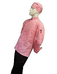 CHEFSKIN 粉红色厨师夹克外套凉爽柔软斜纹面料美丽+帽子