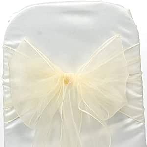 VDS 1 件套优雅欧根纱婚纱椅腰带/蝴蝶结婚礼派对宴会装饰 - 丝带领带背带蝴蝶结 象牙色 10 10_Organza bow sash_Ivory