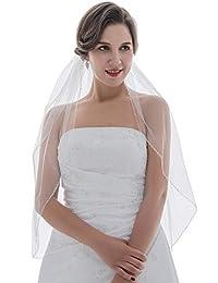 1T 1 层 Bugle 水晶珠 婚礼面纱 指尖长度 91.44cm