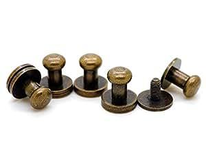 CRAFTMEmore 实心黄铜球头螺柱螺丝后部乳头铆钉纽扣扣带塞人造革古铜饰面 10 件装 古铜色 6.5 mm BHS00slab