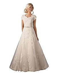 Lazacos 女士盖袖端庄蕾丝贴花串珠纽扣 A 字型婚纱