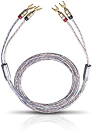 Oehlbach Twin Mix One Loud揚聲器電纜鍍銀涂層 2 x 3 mm2 帶香蕉插頭 2 米透明