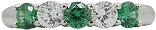 [アマゾンコレクション] Amazon Collection プラチナメッキスターリングシルバークリアキュービックジルコニアとシミュレートされた エメラルド5ストーンリング、サイズ9 婚約指輪 JER00595_121EM05QD00 日本サイズ9号 (USサイズ5号)