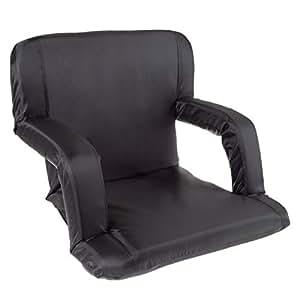 Wakeman Outdoors 80-48456 体育场座椅椅 - 漂白剂垫,带衬垫背部支撑、扶手、6 个斜倚位置和便携式背包背带(黑色)