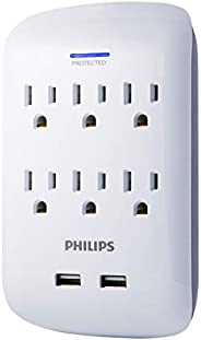 Philips 6-Outlet 浪涌保护胶带,900 支焦,节省空间设计,保护指示灯 LED 灯,灰色和白色,SPP3461WA/37SPP6263WB/37 6 Outlet + 2 USB
