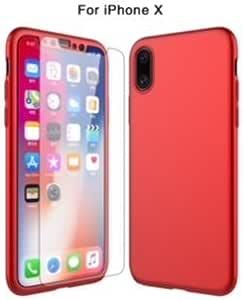 iPhone X 全防护硬质 PC 手机壳防水封面 + 后盖 + 钢化玻璃屏幕保护膜超薄奢华 (3合1) 保护套适用于 iphone X 红色