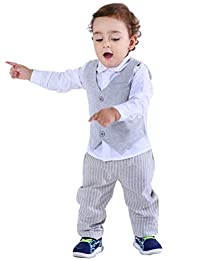 Abolai 婴幼儿男孩 3 件套背心套装正装衬衫、背心和裤子