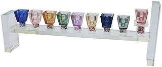 优质 Judaica 现代水晶烛台,多色支架和宝石