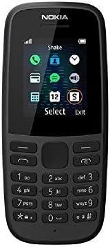 諾基亞 105 (2019) 1.77 英寸顯示屏,4 GB 內存,無攝像頭,英國版,單卡,不含 Sim 黑色