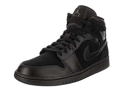 Nike 耐克 男式 Jordan Air 1 Mid 篮球鞋 Black Dark Grey Black 10.5 M US
