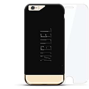 设计师手机壳LUX-I624K360-NMMIGUEL2 Miguel, Modern Font First Name Velvet Black & Gold