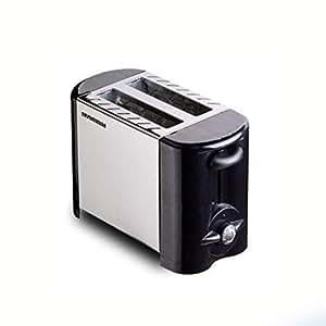 烤面包机 2 片式烤面包机 优级 Prime 烤面包机 小巧拉丝不锈钢烤面包机 黑色 小号 烤面包机 早餐面包除霜 升温 按钮 可拆卸碎屑底盘 快速烘烤 Black-E81