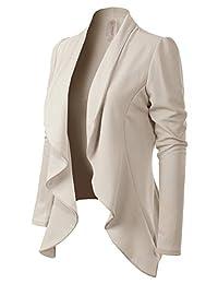 MixMatchy 女式 [美国制造] 纯色正式风格前开长袖西装(S-3X)