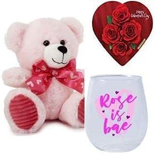 Rose is Bae Stemless 酒杯,粉色长毛绒泰迪熊和Elmer's 心形巧克力盒