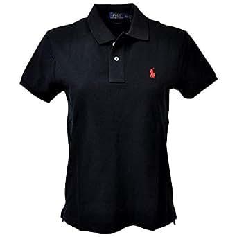 Polo Ralph Lauren 保罗拉夫劳伦女式修身小马标识Polo网眼衬衫 黑色(红色小马) X-Large