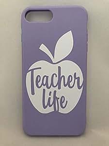 优质手机壳教师,贴身软硅胶外壳哑光,iPhone 7 8 Plus,定制教师生活苹果徽标,5 种颜色可选。 紫色