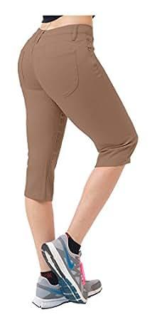Hybrid & CO. 女士提臀超舒适弹力牛仔七分牛仔裤 棕褐色 15