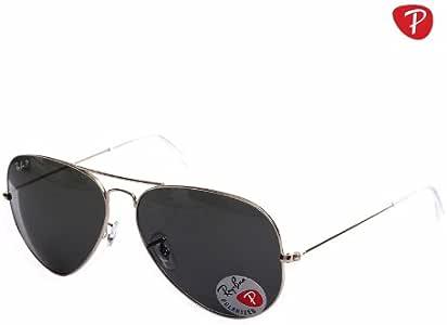 Ray-Ban 雷朋 AVIATOR飞行员偏光系列太阳镜 RB3025 001/58 绿灰偏光 金色镜架 镜片宽58mm*鼻梁宽14mm*镜腿长135mm (亚马逊自营商品, 由供应商配送)