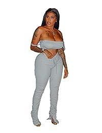 LYANER 女式 2 件套套装无袖露脐上衣和褶饰紧身长裤运动套装