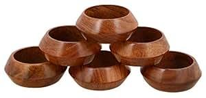 Worldexplorer 手工制作工匠手工餐桌装饰木质餐巾环 12 件套婚礼聚会 木色 6片装