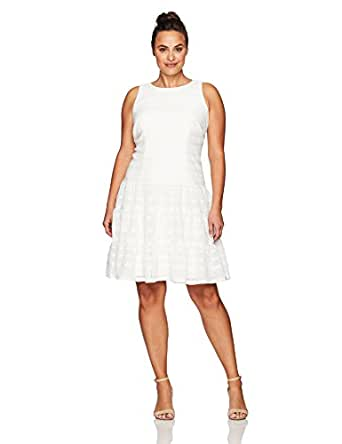 London Times 女式加大码全景针织无袖连衣裙 白色 18 Plus