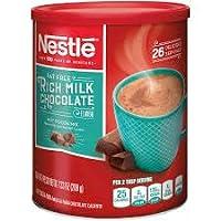 NESTLE 雀巢 无脂浓牛奶巧克力热可可粉,用真正的可可制成的热巧克力,7.33盎司(208克),罐装,4件装(包装可能有所不同)